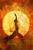 Sun Salute. Woman in yoga warrior 1 pose in a circular light