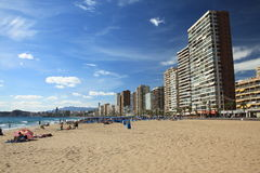 SUN,SAND AND CONCRETE. Beach in Benidorm city . Spain Royalty Free Stock Photography