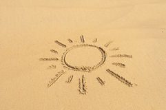 Sun in the Sand. I picture of the sun drawn in the sand Stock Images