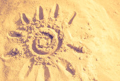 Sun, sand, warm, abstract background. Summer, the sun drawn in t. He sand Stock Photography