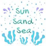 Sun-Sandwüstehandgezogene Beschriftung lizenzfreie abbildung