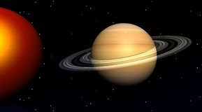 Sun and saturn. The sun and saturn in a sky filled with stars Stock Photos