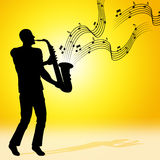 Sun Saxophone Means Jazz Music And Acoustic Stock Photography