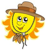 Sun in scout hat royalty free illustration