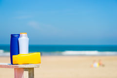 Sun screen on the beach Royalty Free Stock Photos