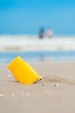 Sun screen on the beach Stock Image