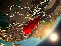 Sun se levant au-dessus de l'Afghanistan de l'espace Illustration Libre de Droits