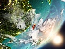 Sun se levant au-dessus de Taïwan de l'espace Photos libres de droits