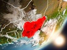 Sun se levant au-dessus du Nigéria de l'espace Images libres de droits
