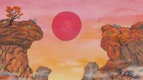 Sun se levant dans les montagnes de l'animation MP4 de l'Asie 2018 banque de vidéos