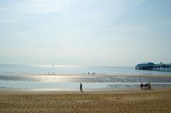 Sun on the sea. Blackpool beach,uk Royalty Free Stock Photos
