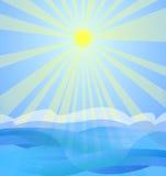 Sun and sea. Sun shining over sea . The sky is bright blue Stock Photos
