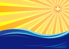 Sun & sea. A sun, smiley and sea. Marine wave. Background for a business card Royalty Free Stock Photo