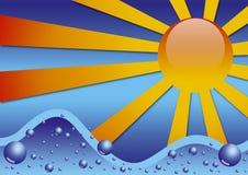 SUN AND SEA. Abstract representation of a wavy sea under the sun Stock Image