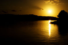 Sun and sea. Sun , clouds and mediterranean sea Royalty Free Stock Photography
