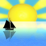 sun sea boat royalty free illustration