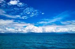 Sun sea cloud. The sun shineing the sea, and cloud in the sky Stock Image