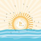 Freedom lifestyle design. Sun and sea of freedom lifestyle and raised theme Vector illustration Royalty Free Stock Photo