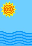 Sun and sea illustration Royalty Free Stock Photography