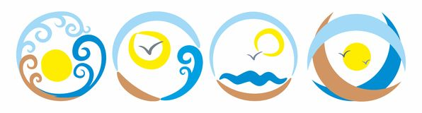 Sun and sea logo Stock Images