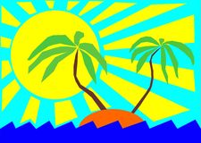 Sun, sea and palm trees. Vector illustration - Two palm-tree on the tropical island Stock Photography