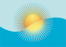Sun, sea, sky. Illustration. Stylized sun sets into the sea Stock Photography