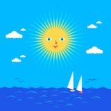 Sun and sea. A warm summer sun above the sea stock illustration