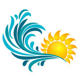 Sun and sea wave. The sun and the sea wave. Symbol for travel and recreation Royalty Free Stock Photography