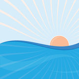 Sun and sea waves Royalty Free Stock Image