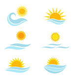Sun and sea waves icons Royalty Free Stock Photography