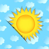 The sun on seamless a background with clouds. Vector illustration Stock Image