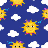 Sun seamless pattern. Royalty Free Stock Photography