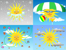Sun through the seasons Royalty Free Stock Image