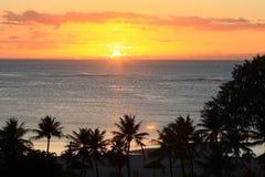 Sun set. In Hawaii beach Royalty Free Stock Photo