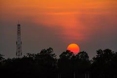 Sun Set and Antanna Royalty Free Stock Photo