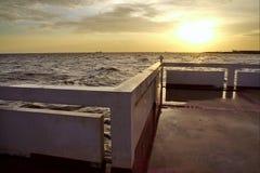 Sun set at Bang Pu Seaside. Located at Tambon Bang Pu Mai, about Kilometres 37 from Bangkok, Thailand on Sukhumvit Road, opposite the Bang Pu Industrial Estate royalty free stock images