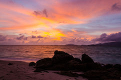 Sun set and beach at Lipe island Thailand stock photos