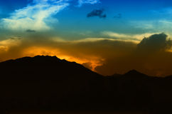 Sunset Behind Mountain! Stock Images