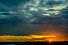 Sun set with big cloud. Stock Images