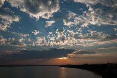 Sun set with cloud. By the river at Pakse, Laos Stock Image
