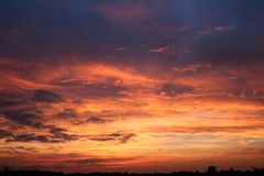 Sun set and clouds Royalty Free Stock Photography