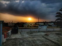Sun set evening at the terrace with nature& x27;s beauty stock image