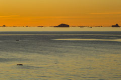 Sun set in Gerlache Strait Stock Image