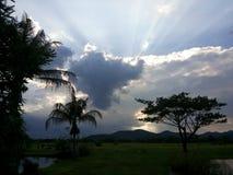 Sun set. Gold light at maekuang dam doisaket chiangmai thailand Stock Photo