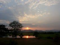 Sun set. Gold light at maekuang dam doisaket chiangmai thailand Royalty Free Stock Photos