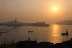 Sun set of Hong Kong Stock Photos