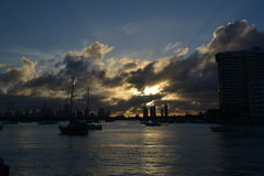 Sun set at Miami Beach, Florida, USA stock photos