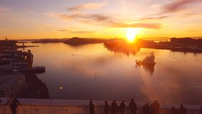Sun set Oslo city. Sun set from The Opera House Roof Stock Photo