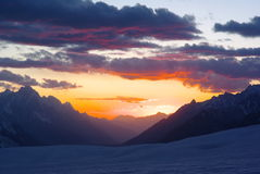 Sun set over hispar pass Royalty Free Stock Image