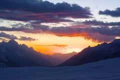 Sun set over hispar pass. In karakoram mountain range very remote place on the biafo hispar trek Royalty Free Stock Image